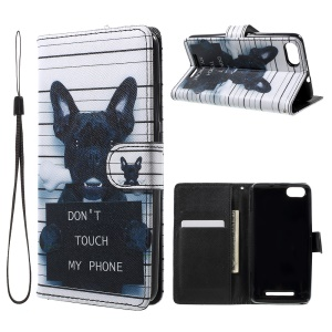 Patterned Leather Wallet Cover with Lanyard for Wiko Lenny 3 - Dog and Do Not Touch My Phone