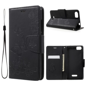 Imprint Butterflies Leather Stand Case for Wiko Fever SE - Black