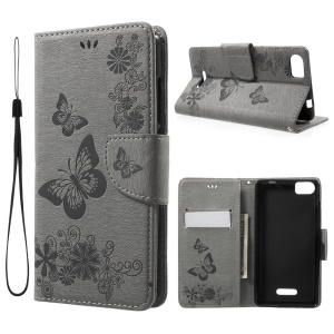 Imprint Butterflies Leather Stand Cover for Wiko Fever SE - Grey