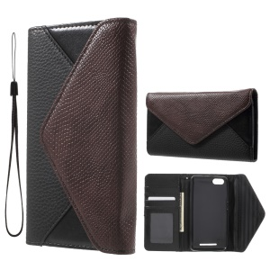 Litchi Texture Leather Wallet Sand Case for Wiko Lenny 3 with Wrist Strap - Brown / Black
