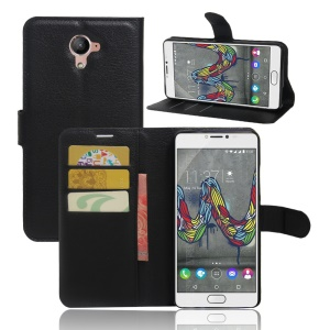 Lychee Skin Wallet Leather Stand Case for Wiko U Feel Fab - Black