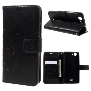 Imprint Butterfly Leather Wallet Case for Wiko Pulp 4G with Lanyard - Black
