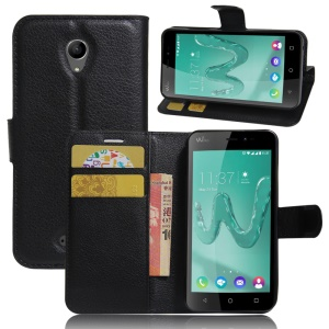 Litchi Skin Wallet Leather Stand Case for Wiko Freddy - Black