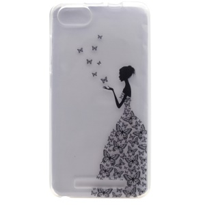 Fashion Patterned Soft TPU Case for Wiko Lenny 3 - Girl and Butterflies