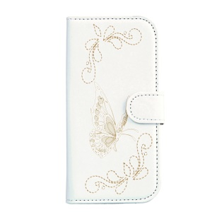 Laser Carving Butterfly Stand Leather Wallet Phone Case for Wiko Sunny - White