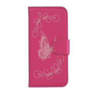 Laser Carving Butterfly Wallet Stand Leather Mobile Cover for Wiko Sunny - Rose