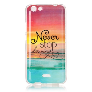 Pattern Printing IMD TPU Case for Wiko Rainbow Jam - Quote Never Stop Dreaming