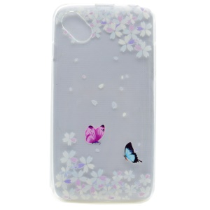 Pattern Printing TPU Case Cover for Wiko Sunny - Butterflies and Flowers