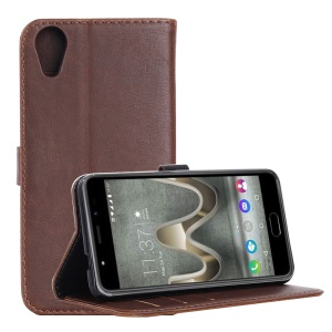 Vintage Flip Stand Leather Wallet Phone Case for Wiko U Feel Go - Coffee