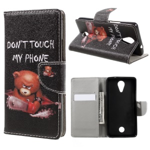 Pattern Printing Leather Wallet Mobile Casing for Wiko Tommy - Warning Words and Cool Bear