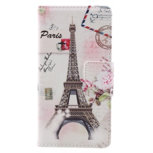 For Wiko Tommy Pattern Printing Leather Wallet Case Cover - Postcard Style Eiffel Tower