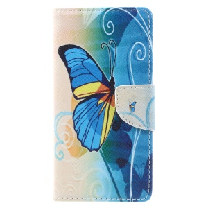 For Wiko Tommy Patterned Leather Cell Phone Case Accessory - Beautiful Butterfly