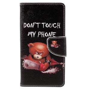 Pattern Printing Leather Card Holder Shell for Wiko U Feel Lite - Warning Words and Cool Bear
