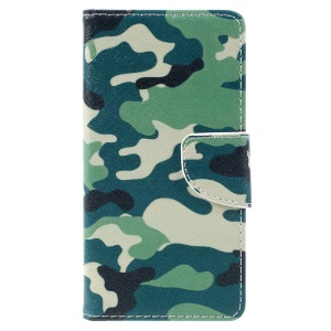 Pattern Printing Leather Wallet Case Cover for Wiko U Feel Lite - Camouflage Pattern
