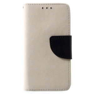 Stone Grain Flip Leather Cell Phone Cover with Stand for Wiko Sunset2 - White