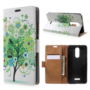 Patterned Wallet Stand Leather Mobile Phone Case for Wiko Upulse - Green Flowers Tree Birdcage
