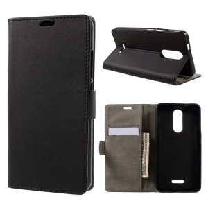 PU Leather Wallet Stand Mobile Phone Case for Wiko Upulse - Black
