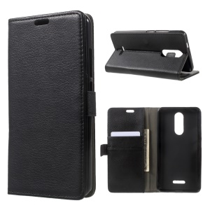 Litchi Texture PU Leather Stand Case with Card Slots for Wiko Upulse - Black