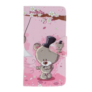 Pattern Printing Cross Texture Leather Wallet Case Accessory for Wiko Lenny2 - Lovely Bear