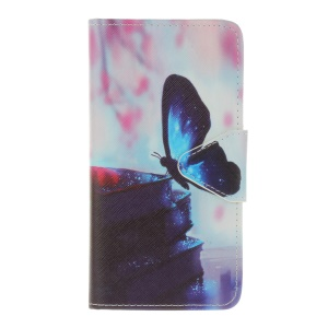Pattern Printing Cross Texture Leather Wallet Case for Wiko Lenny 3 - Butterfly Pattern