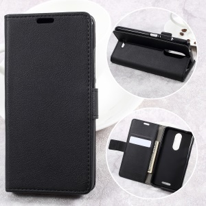 Wallet Leather Cell Phone Cover Case for Wiko Upulse Lite - Black