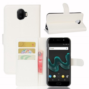 Litchi Grain Leather Wallet Cover for Wiko WIM - White