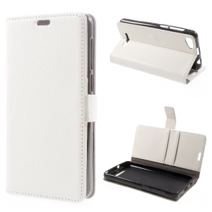 Litchi Texture PU Leather Wallet Stand Cell Phone Case for Wiko Jerry Max / Lenny 3 Max - White
