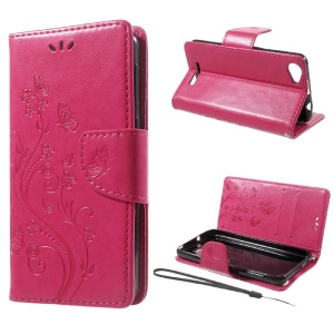 Imprinted Flora Butterflies Leather Wallet Phone Case for Wiko Lenny 3 Max - Rose