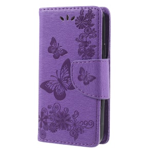 Imprinted Flora Butterflies Wallet Leather Cover with Stand for Wiko Sunny Max - Purple