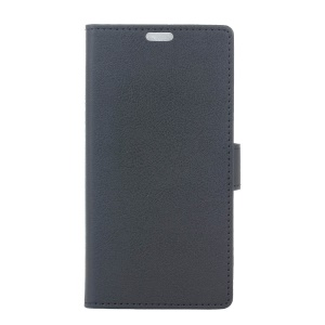 Litchi Skin Wallet Leather Case for Wiko Kenny - Black