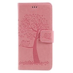 Imprint Tree Owl Magnetic Wallet Leather Stand Casing Cover for Wiko Jerry Max / Lenny 3 Max - Pink
