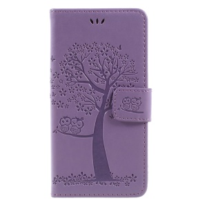 Imprint Tree Owl Magnetic Wallet Leather Stand Cellphone Case for Wiko Jerry Max / Lenny 3 Max - Purple