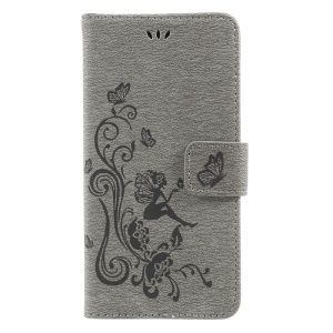 Imprint Fairy Butterfly and Flower Leather Stand Casing for Wiko Lenny 3 - Grey