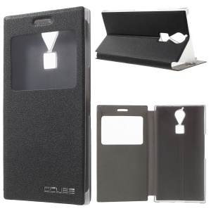 For Doogee F5 / F5 Pro Leather Case with View Window - Black