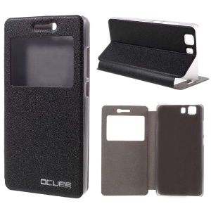 For Doogee X5 / X5 Pro Leather Case with View Window - Black