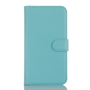 Litchi Skin Leather Wallet Cover Case for DOOGEE X5 / X5 Pro - Baby Blue