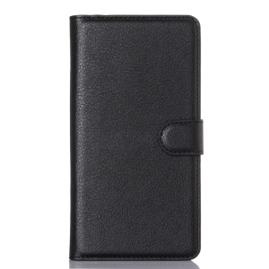 Litchi Texture Wallet Stand Leather Case for Doogee Kissme DG580 - Black