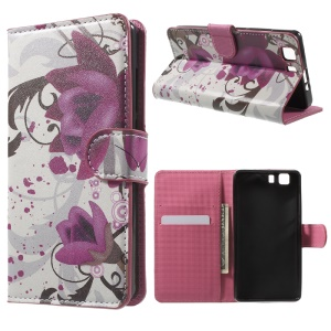 Wallet Leather Stand Case for Doogee X5 - Purple Flowers
