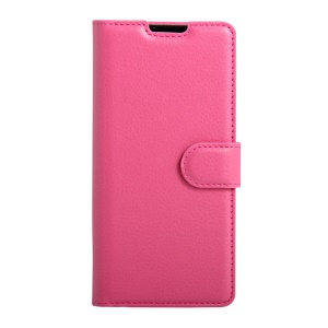 Litchi Grain PU Leather Wallet Card Holder Cover for Doogee X6 - Rose
