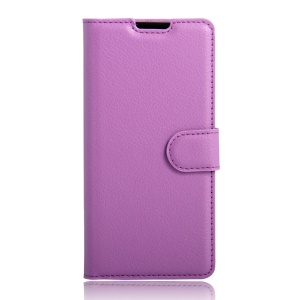 Litchi Grain PU Leather Wallet Protective Case for Doogee X6 - Purple
