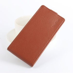Litchi Skin Phone Leather Vertical Case for Doogee X5 Max - Brown