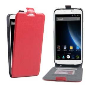 Crazy Horse Vertical Flip Leather Shell for Doogee X6 with Card Slot - Red