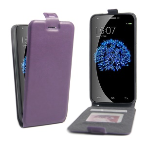 Card Holder Leather Vertical Flip Shell Cover for Doogee Valencia2 Y100 Pro - Purple