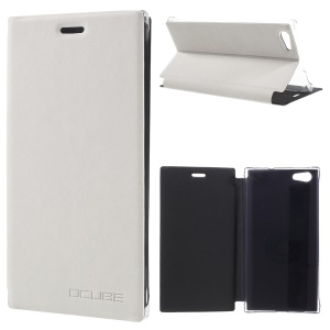 Flip Stand Anti-scratch Leather Phone Cover for Doogee Y300 - White