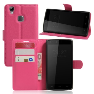 Lychee Skin Magnetic Leather Stand Case for Doogee X5 Max - Rose