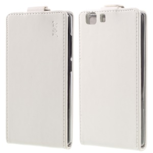 JR Crazy Horse Up and Down Open Leather Cover for Doogee X5 - White