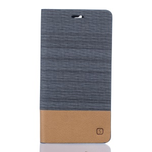 Linen Leather Card Slot Phone Stand Case for Doogee F5 - Dark Grey