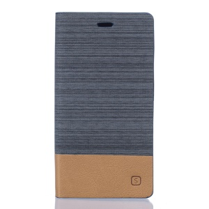 Two-color Linen Texture Leather Stand Case for Doogee X5 Max - Dark Grey