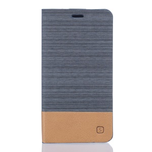 Two-color Linen Texture Leather Stand Case for Doogee Valencia2 Y100 Pro - Dark Grey