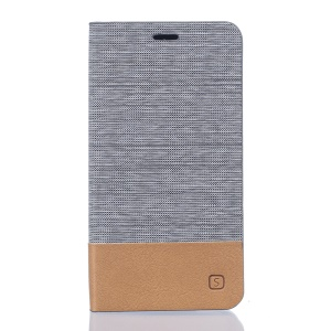 Two-color Linen Texture Leather Stand Cover for Doogee Valencia2 Y100 Pro - Light Grey
